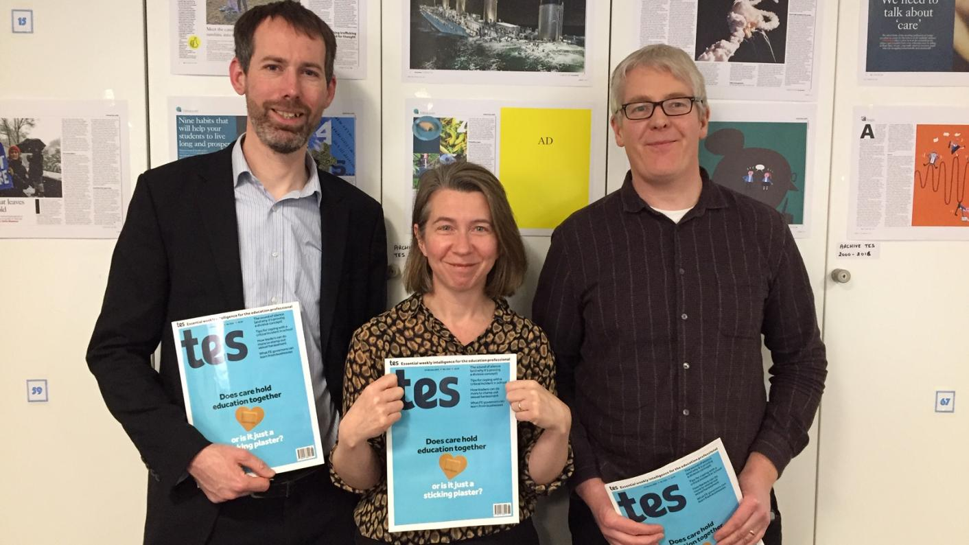 The Tes podcast: Left to right, Martin George, Helen Ward and Will Stewart.