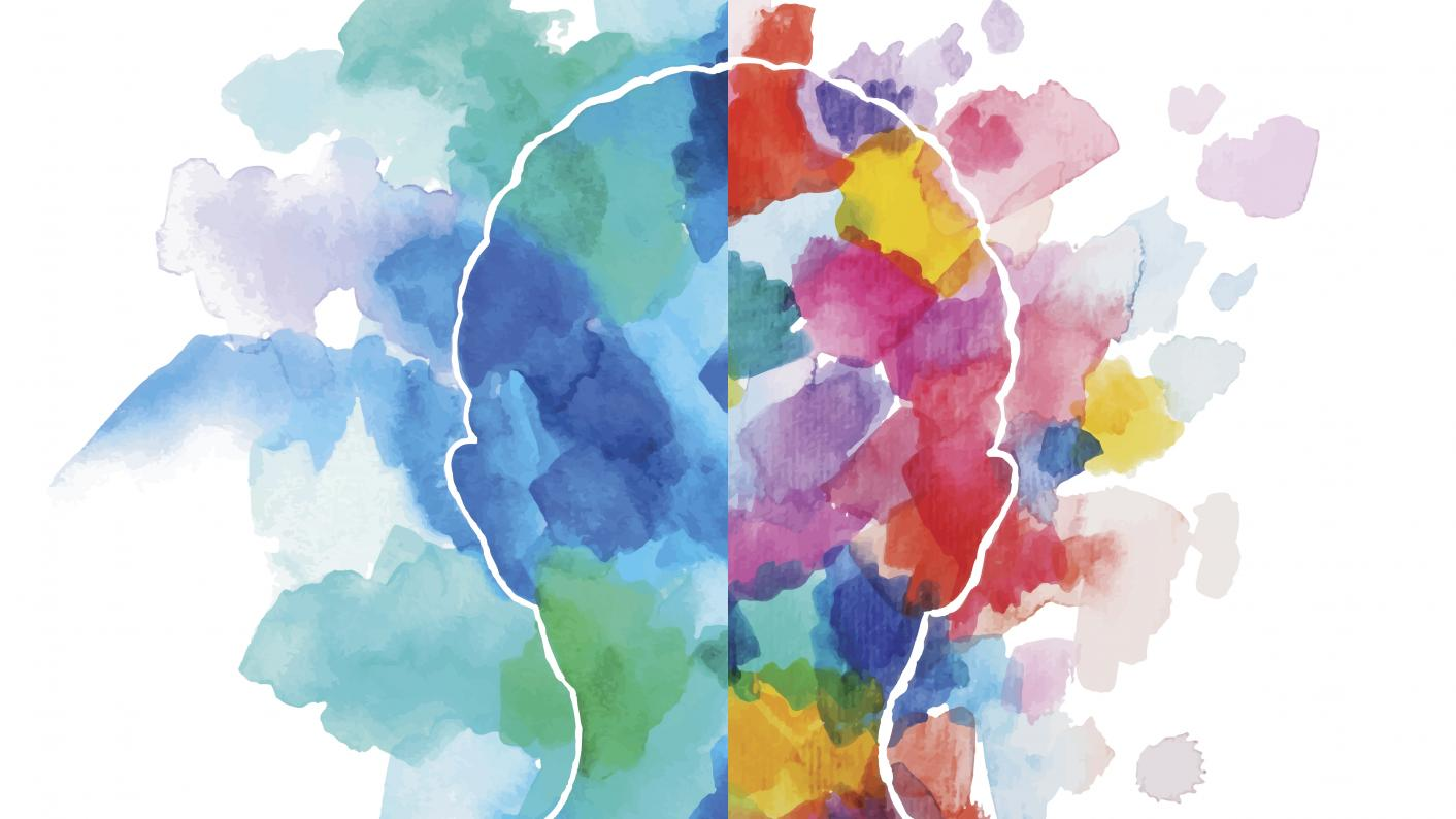 Colourful illustration of a head with the left side splotched with blues and greens and the right side splattered with an arrangement of colours