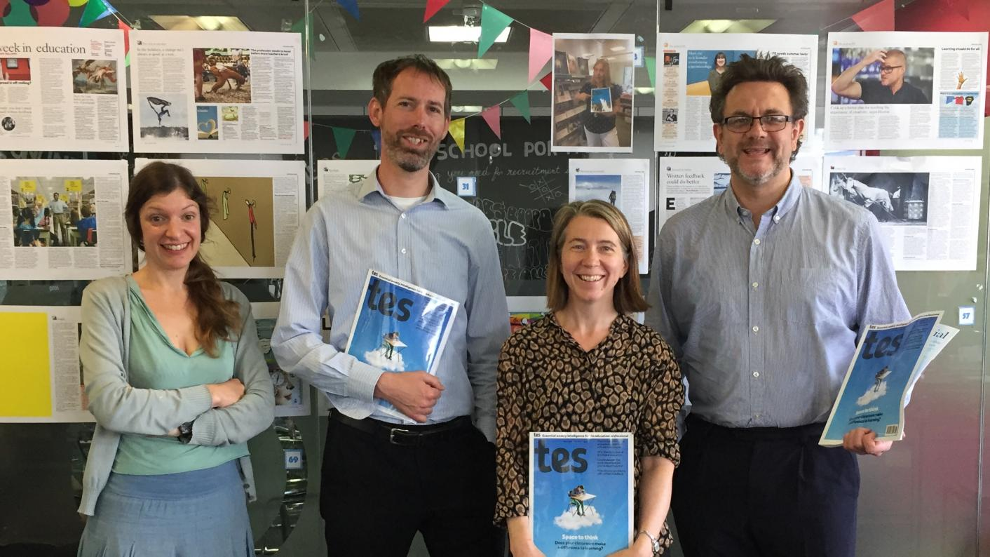 The Tes podcast: left to right, Adi Bloom, Martin George, Helen Ward and Dave Speck.