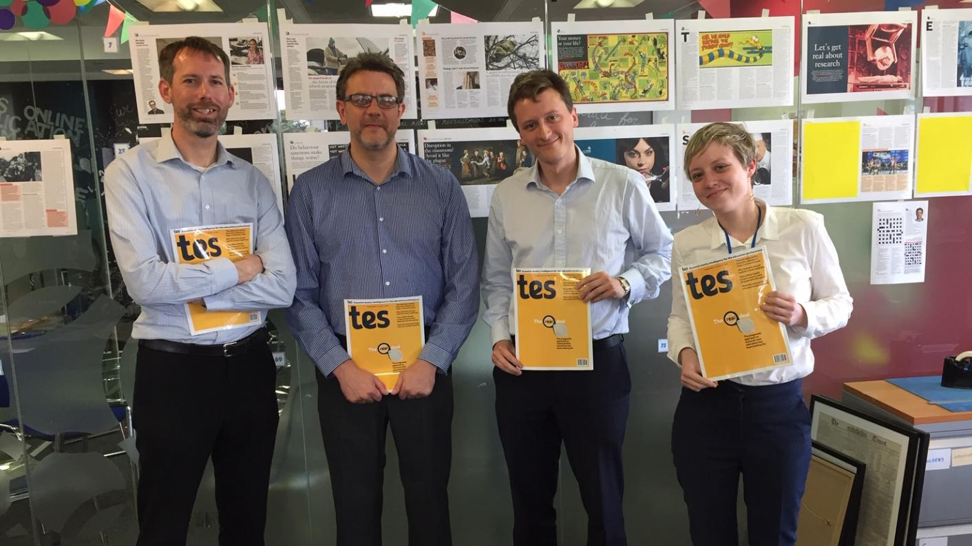 The Tes A-level podcast: left to right, Martin George, Dave Speck, Will Hazell and Catherine Lough.