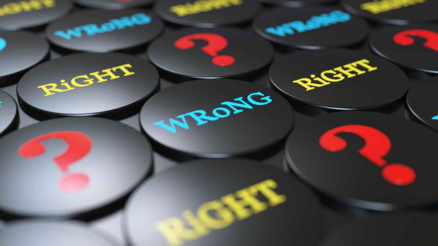 "Badges saying ""Wrong"" and ""Right"", and showing a question mark"