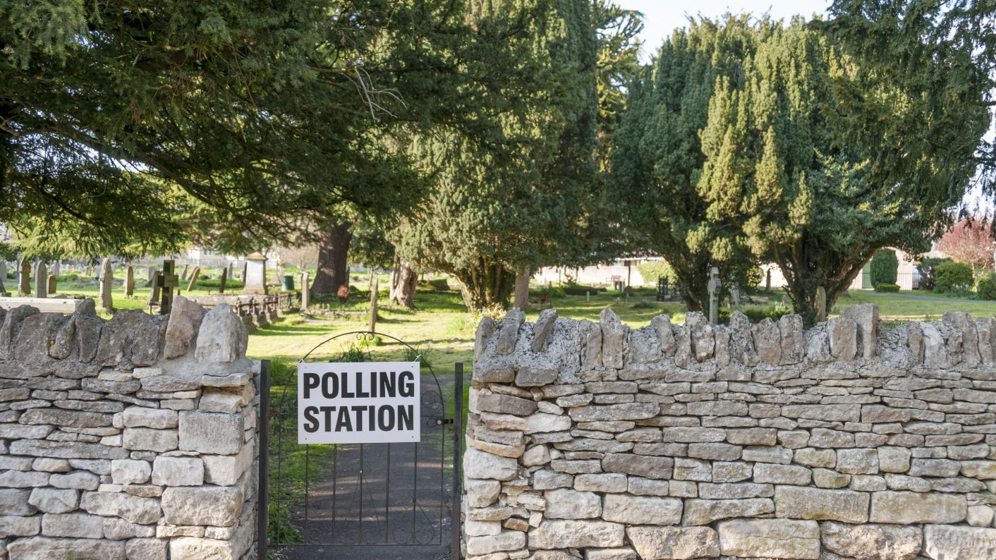 Polling station sign on gate of church yard