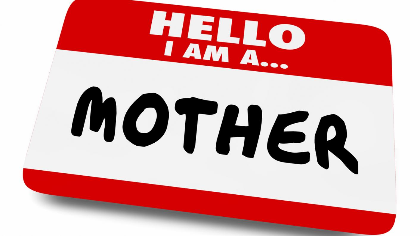 Name badge, reading: 'Hello. I am a mother'