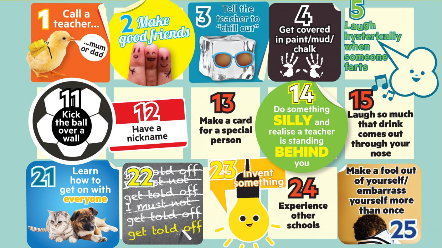 100 things you should have done at school before the age of 11 – chosen by primary pupils