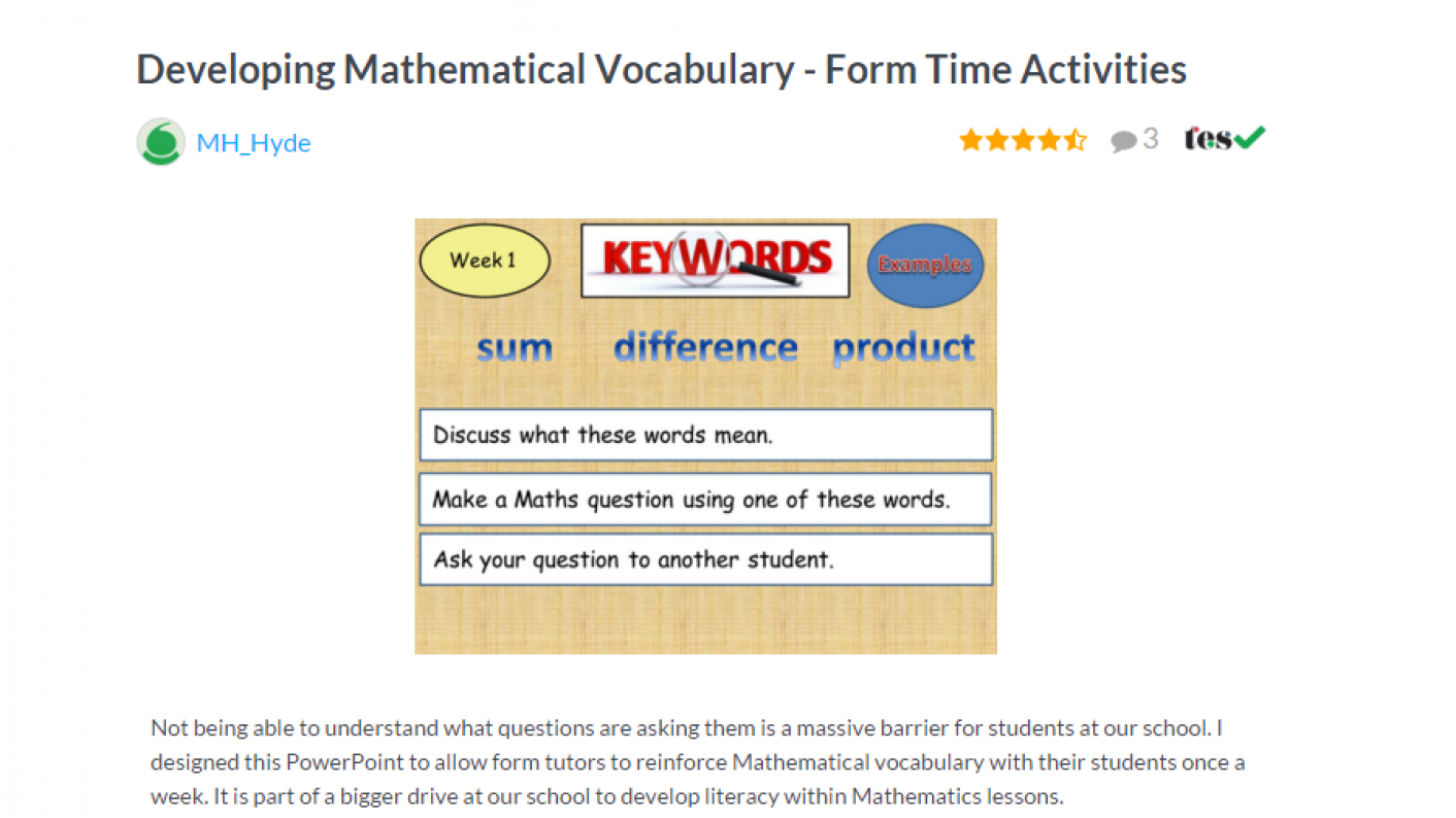 TES Maths ROTW Developing Mathematical Vocabulary